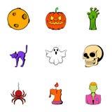 Pumpkin lantern icons set, cartoon style Royalty Free Stock Image