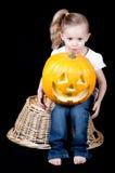 Pumpkin on lap Stock Photos