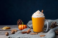 Pumpkin latte with spices. Boozy cocktail with whipped cream on top on a wooden background. Copy space. royalty free stock photography