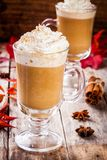 Pumpkin latte with whipped cream in a glass jar Royalty Free Stock Photography