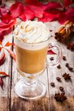 Pumpkin latte with whipped cream in a glass jar Stock Photos