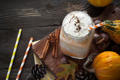 Pumpkin latte with whipped cream. Royalty Free Stock Image