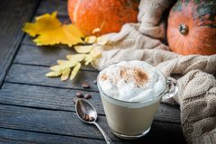 Pumpkin latte with whipped cream. And spices, with pumpkins and withe cozy sweater over wood texture. Copy space royalty free stock images