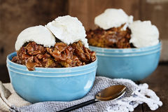 Pumpkin Lava Cake Cobbler and Ice Cream Stock Photography