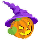 Pumpkin with leafs and hat  on  white background Royalty Free Stock Image