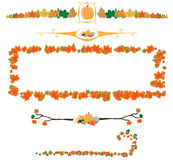 Pumpkin and leaves Autumn borders Royalty Free Stock Photos