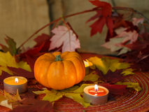 Pumpkin with leaves and candles. Pumpkin with candles and red, yellow maple leaves from side Stock Images