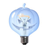 Pumpkin light bulb Royalty Free Stock Images