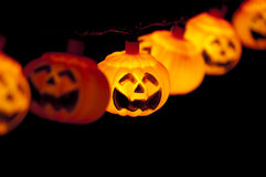 Pumpkin lights hanging Royalty Free Stock Image