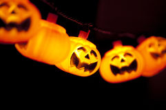 Pumpkin lights hanging Royalty Free Stock Photos