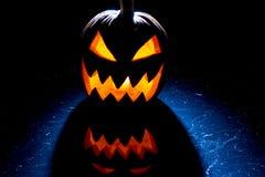 Pumpkin lit for halloween celebration stock image