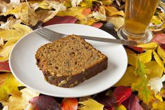 Pumpkin Loaf with Leaves Stock Photography