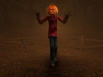 Pumpkin Man. 3d illustration of pumpkin man Halloween character Stock Image