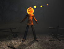 Pumpkin man halloween character Stock Image