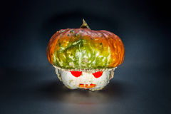 Pumpkin man. Head with pumpkin on Halloween Stock Images