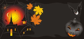 Pumpkin with maple leaves and bat. Halloween Royalty Free Stock Image