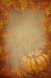 Pumpkin and maple leaves. Design on textured background Royalty Free Stock Image