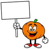 Pumpkin Mascot with Sign Stock Image