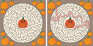 Pumpkin maze. For kids with a solution vector illustration