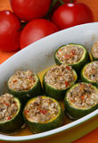 Pumpkin with meat and vegetable. On plate Stock Photo