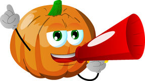 Pumpkin with megaphone Royalty Free Stock Image