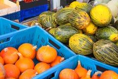 Pumpkin and melon sale on the Dutch market Stock Image