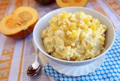 Pumpkin millet porridge Stock Image