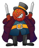 Pumpkin Monster with Knife Royalty Free Stock Photography