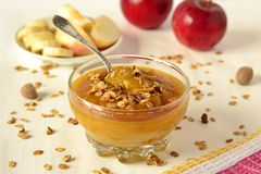 Pumpkin mousse with bananas Stock Images