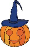 Pumpkin with mouth and eyes in a witch`s cap. For Halloween. Vector. royalty free illustration