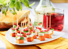 Pumpkin and mozzarella skewer Royalty Free Stock Photography