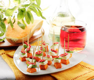 Pumpkin and mozzarella skewer Stock Images