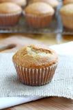 Pumpkin Muffin. Baked pumpkin muffin on burlap royalty free stock photo