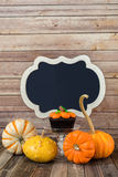 Pumpkin muffin with gourds and blank chalkboard sign Stock Photos