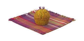 Pumpkin muffin on napkin Royalty Free Stock Image
