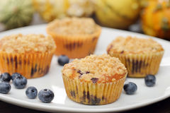Pumpkin muffins with cranberries Royalty Free Stock Images
