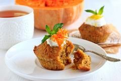 Pumpkin muffins with lemon sauce Stock Photo