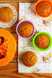 Pumpkin muffins with lemon sauce Stock Photography