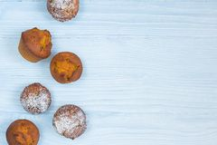 Pumpkin muffins on light blue background royalty free stock photography