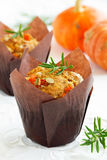 Pumpkin muffins with rosemary Stock Photo