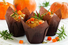 Pumpkin muffins with rosemary Stock Images
