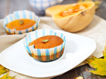 Pumpkin muffins with seeds and pumpkin Stock Photo