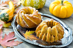Pumpkin muffins on a tray stock photos