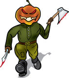 Pumpkin murderer escapes with a knife. And a hatchet Royalty Free Stock Photos