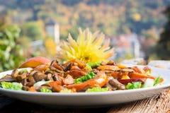 Pumpkin - mushroom - salad stock photography