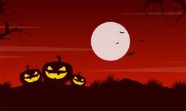 Pumpkin at night Halloween landscape Royalty Free Stock Photography