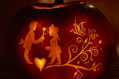 Pumpkin night party. In Switzerland village Rudolfingen, near Zurich. People make different pictures on pumpkins. This Party is an alternative to the Helloween royalty free stock photo