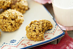 Pumpkin oat cookies on a plate Royalty Free Stock Images