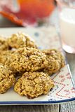 Pumpkin oat cookies on a plate Stock Images