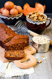 Pumpkin oat and nut tea bread Royalty Free Stock Photo